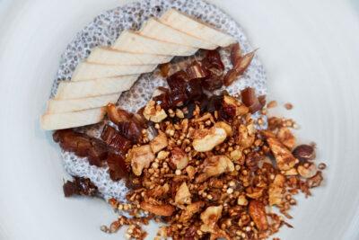 Silvestermenü Chiapudding mit Banane und Nusscrunch